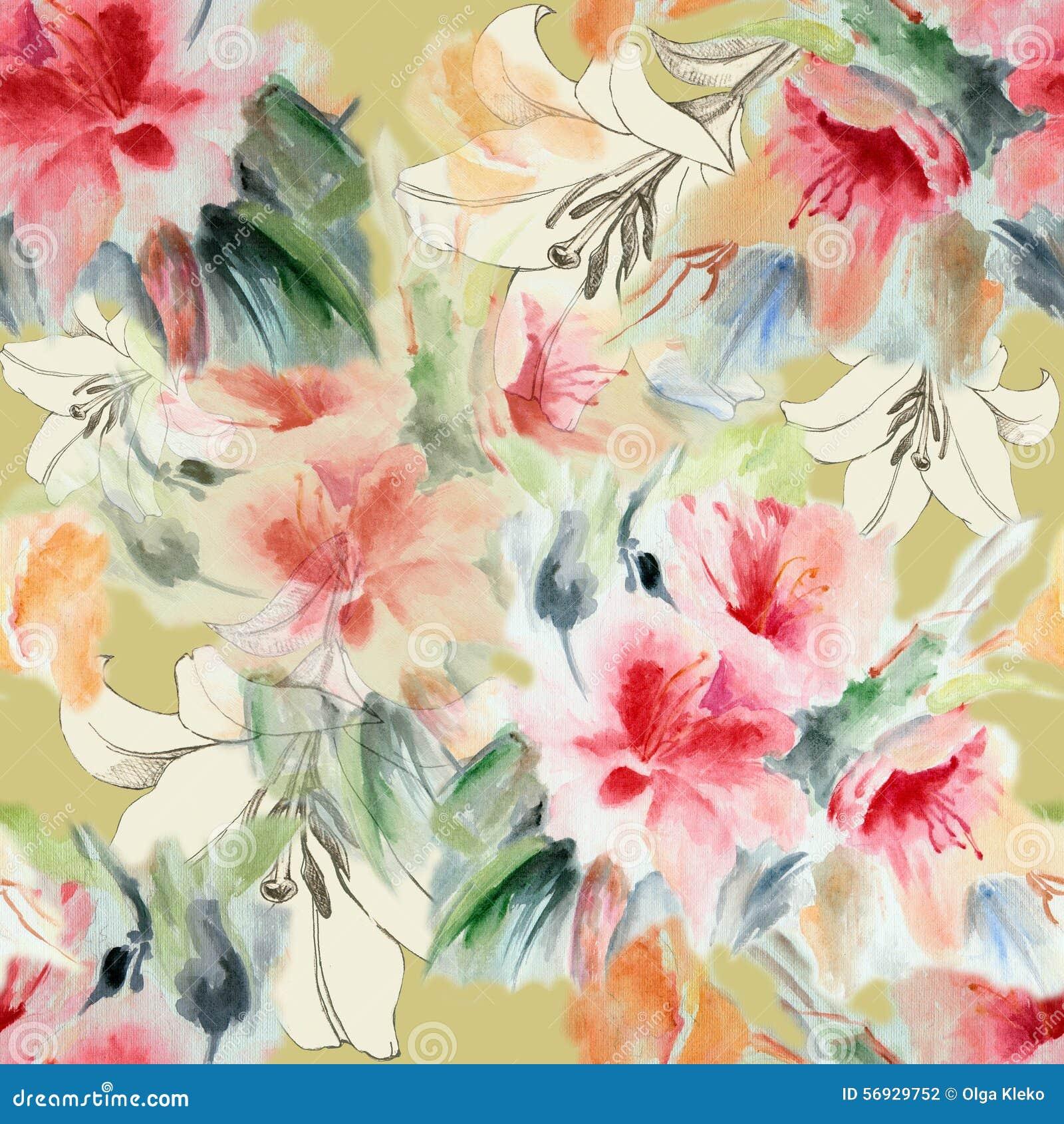 Chińczyk róża i kwiat leluja, akwarela, deseniowy bezszwowy