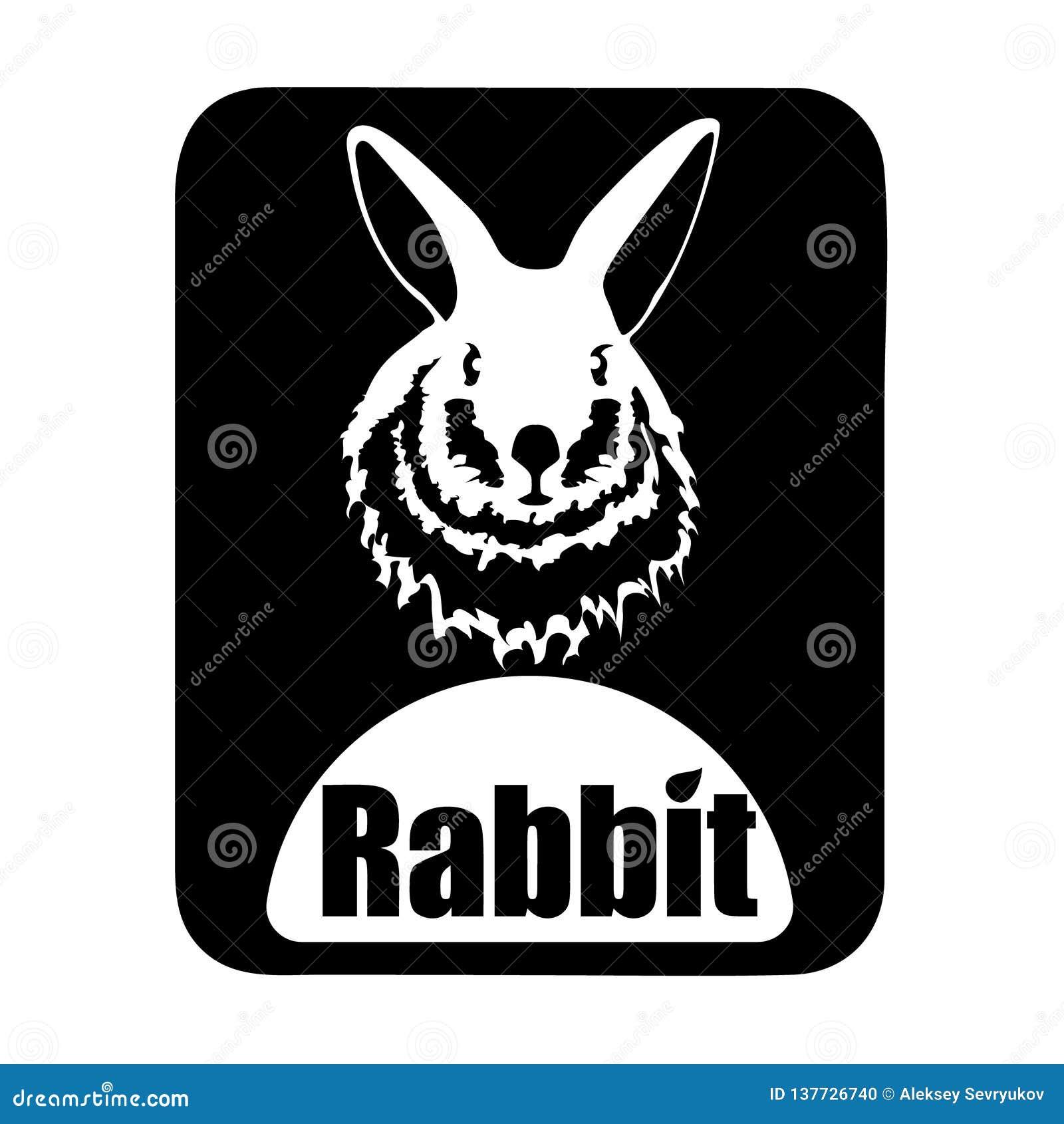 Chińczyka logotypu królika kalendarzowa zwierzęca monochromatyczna głowa