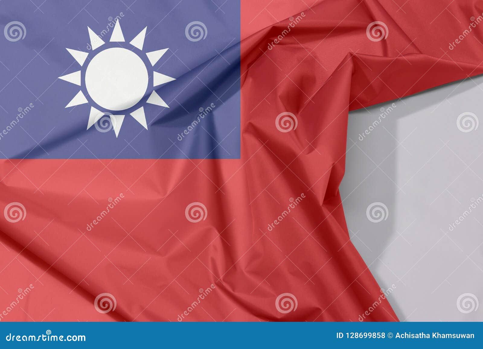 Chińczyka Taipei tkaniny flaga Tajwańska krepa i zagniecenie z biel przestrzenią