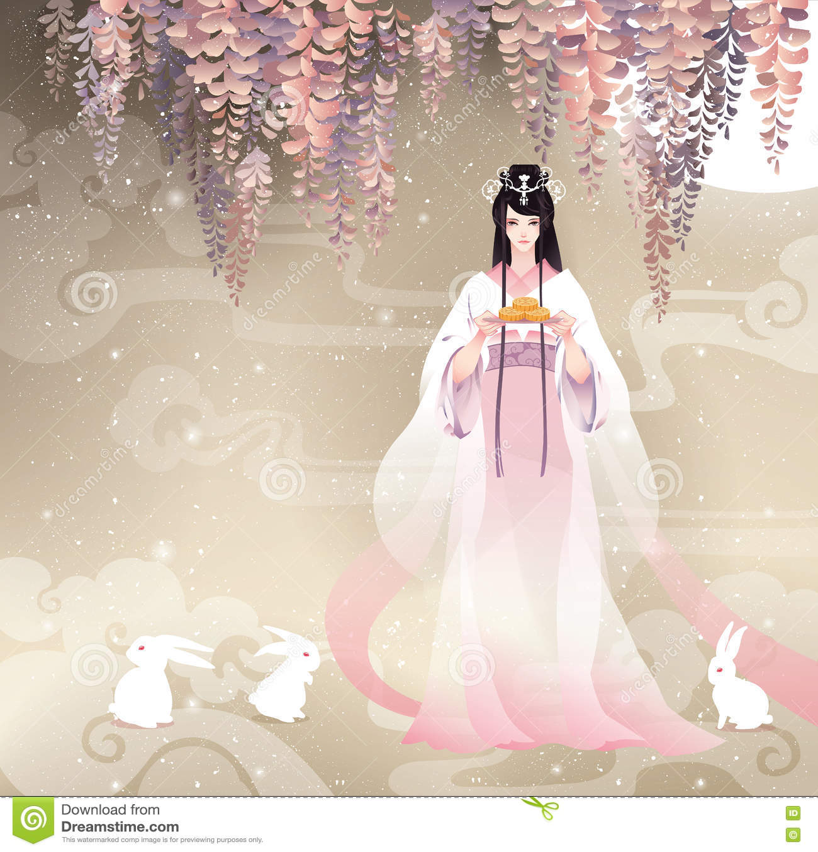 Chińska bogini księżyc, Chang e i księżyc, zasychamy Wektorowy ilustracyjny w połowie jesień festiwal