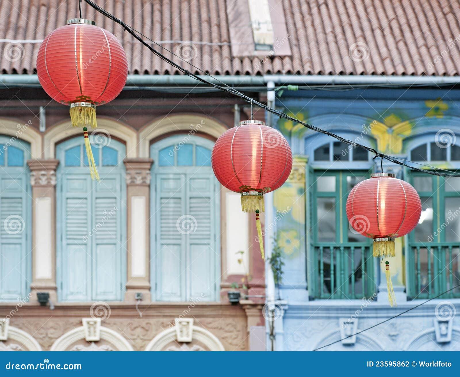 Chińska lampionów Singapore ulica