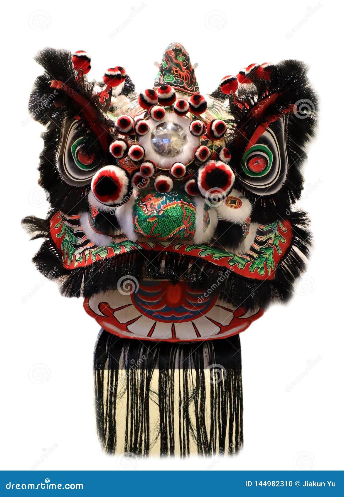Chińska lwa tana głowy maska odizolowywająca na białym tle, Chiński styl, czarny