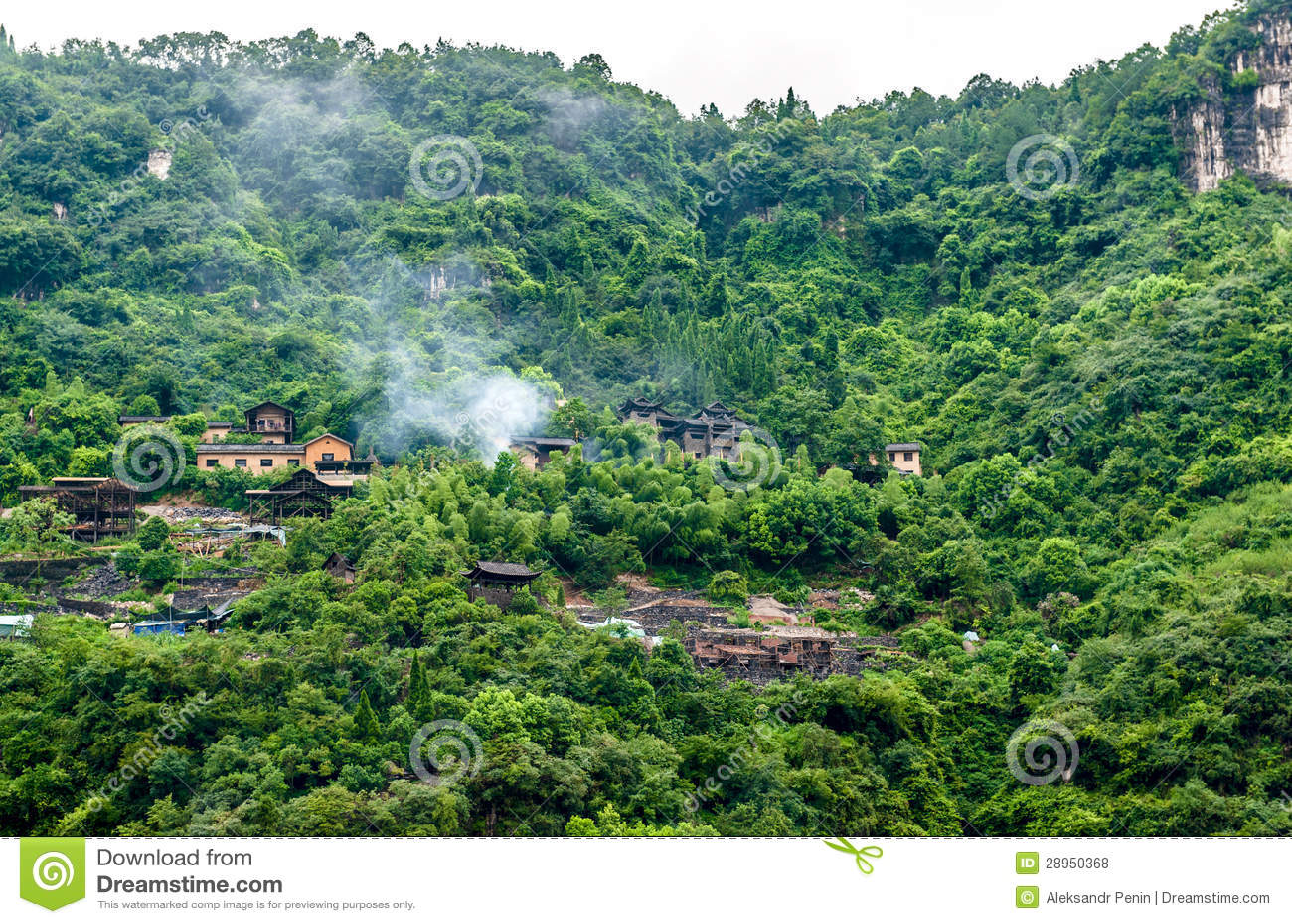 Chińska wioska w górach