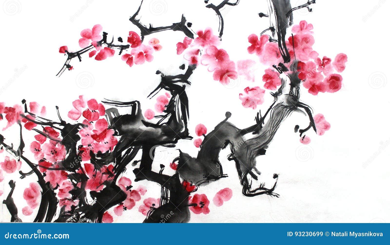 Chiński atramentu obraz kwiaty, śliwkowy okwitnięcie na białym tle,