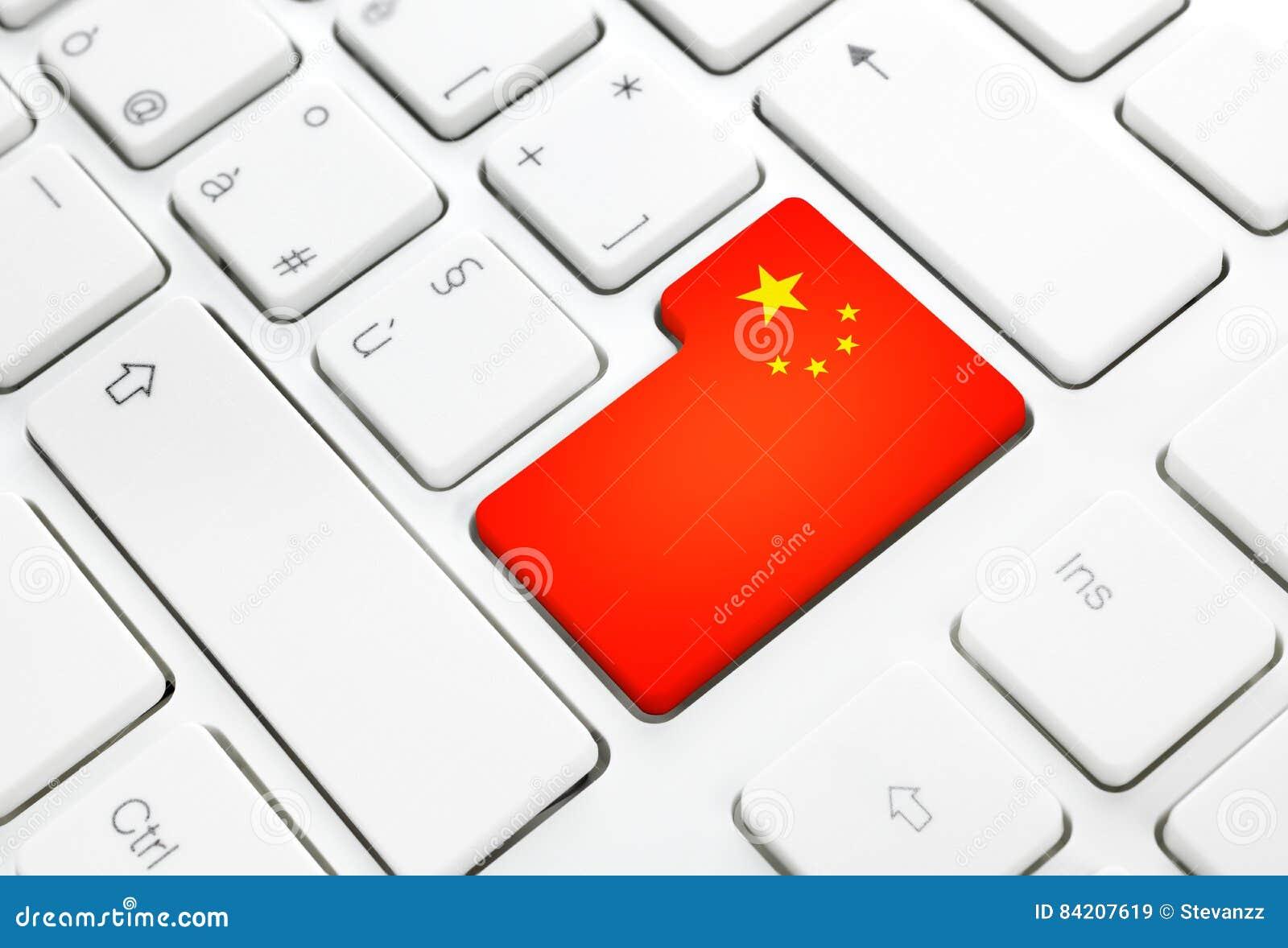 Chiński język lub Chiny sieć pojęcie Flaga państowowa wchodzić do butto