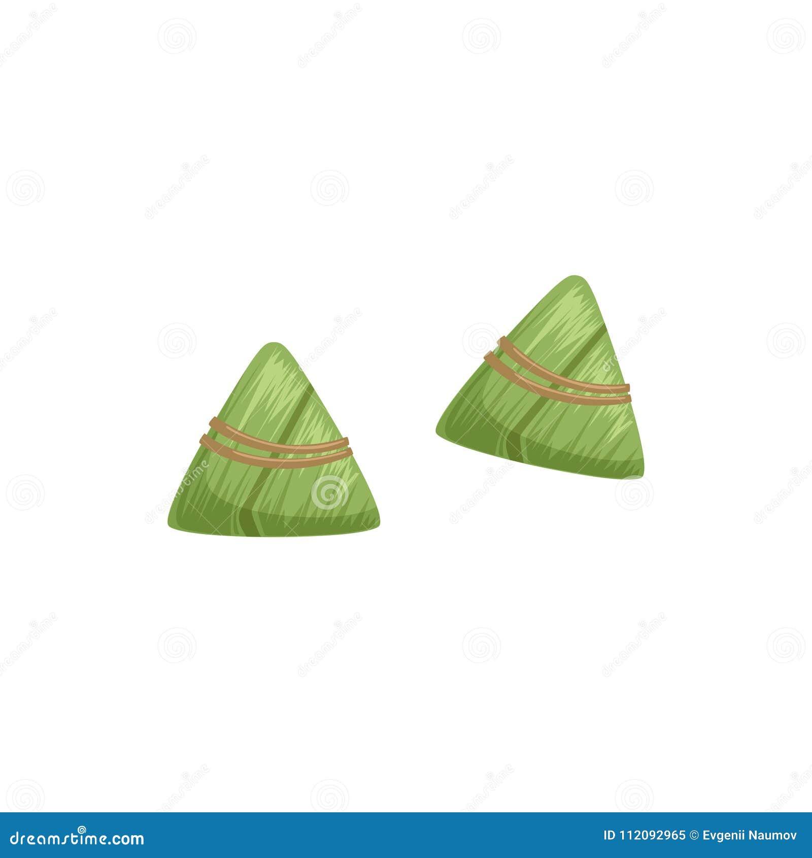 Chińskie ryżowe kluchy z bambusowym liściem, symbol Chińskiego tradycyjnego Łódkowatego festiwalu wektorowa ilustracja na bielu