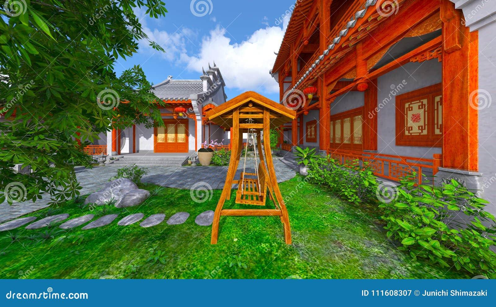 Chińskiego stylu podwórze i siedziba