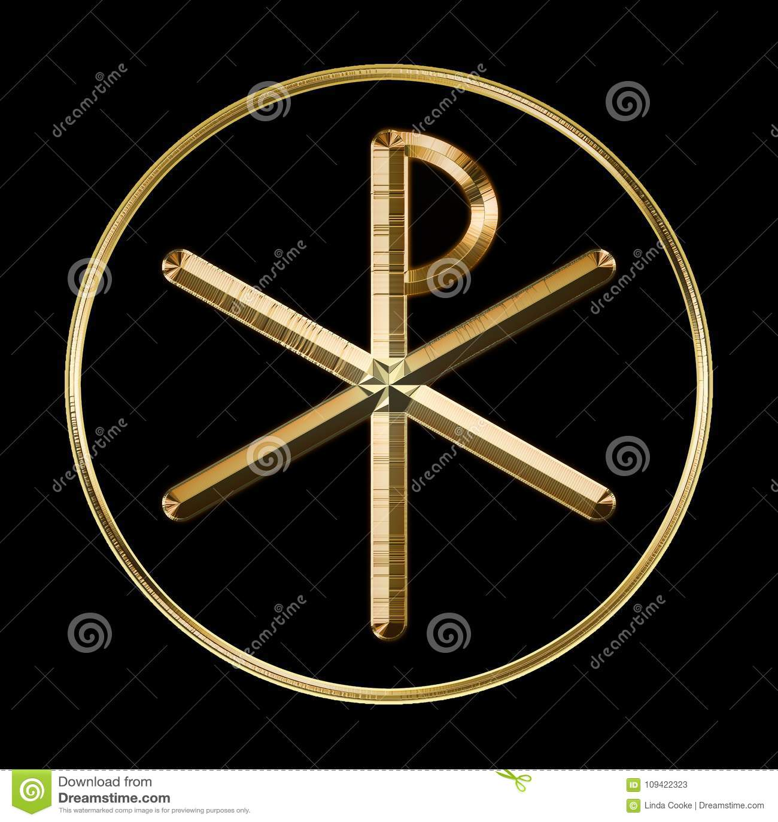 Chi Rho Symbol On Black Stock Illustration Illustration Of