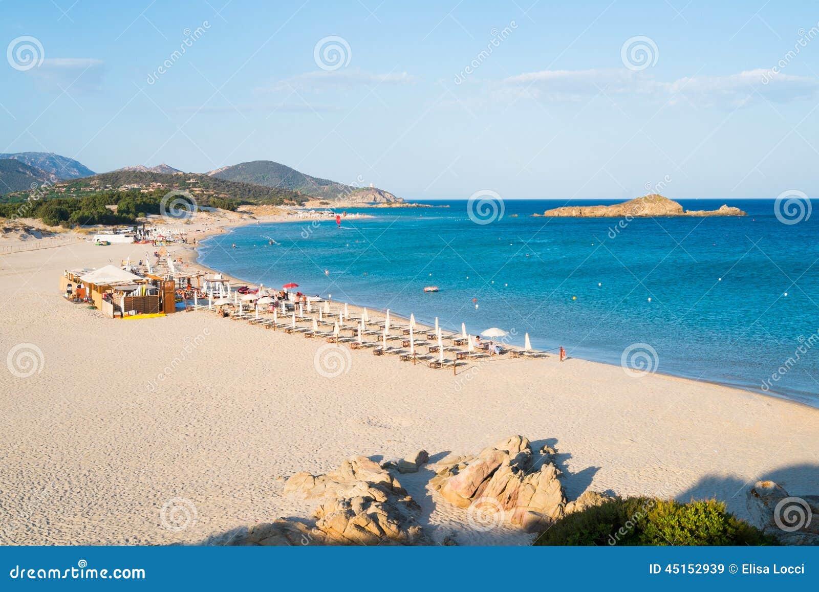Panorama of Su Giudeu beach in Chia, south of Sardinia, Italy.