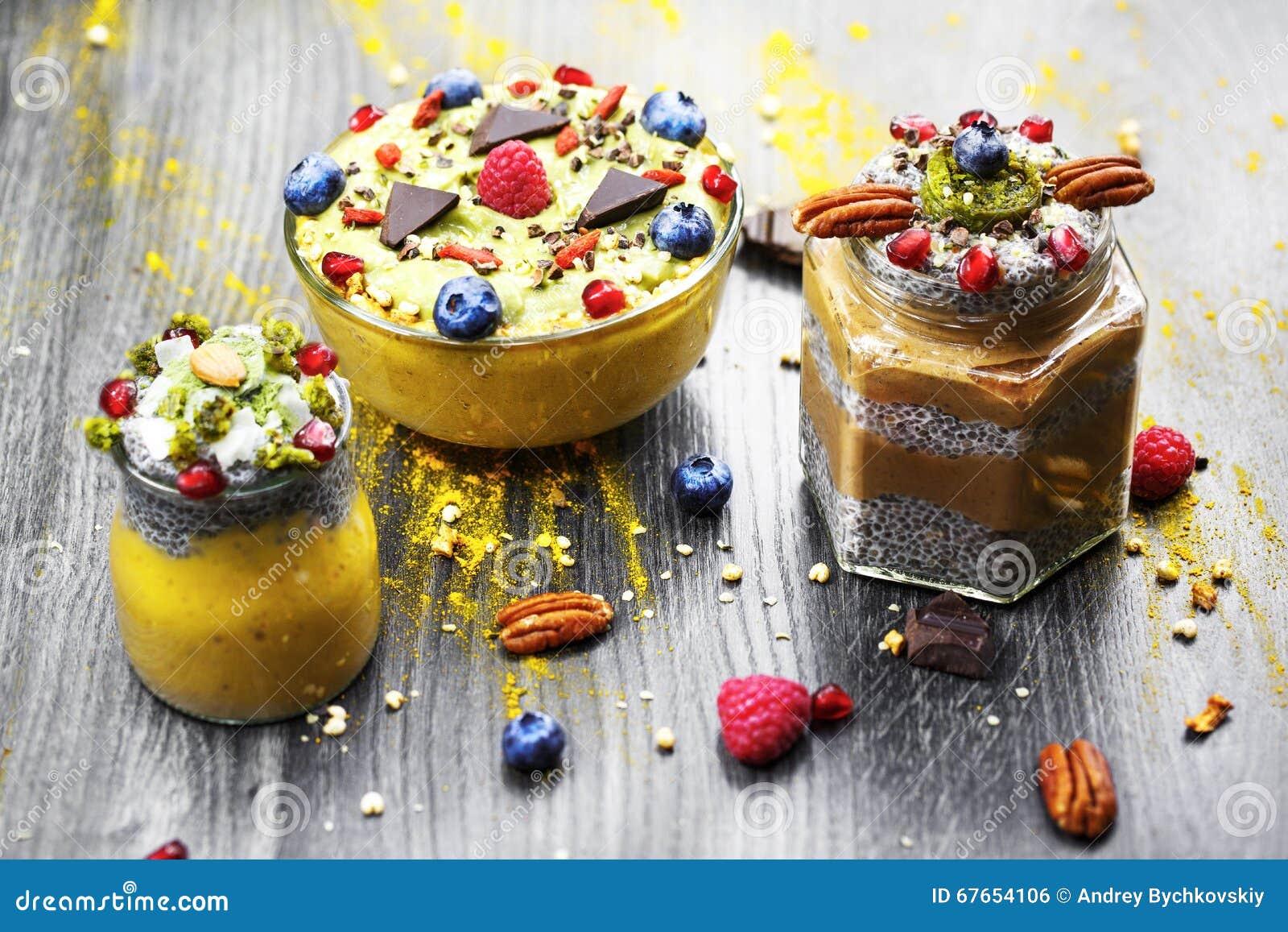 Chia-Mangoparfait Schokolade chia Parfait Bananenmango Smoothie