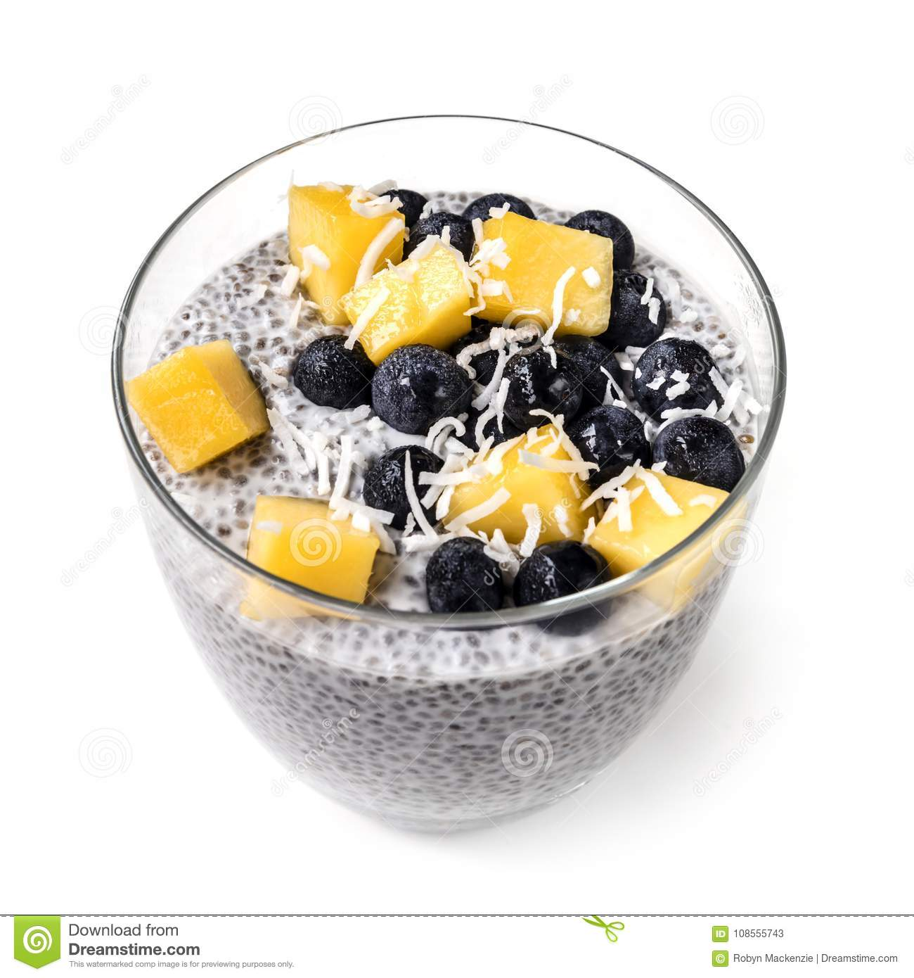 Chia Pudding Isolated in Glass with Blueberries Mango and Shredd