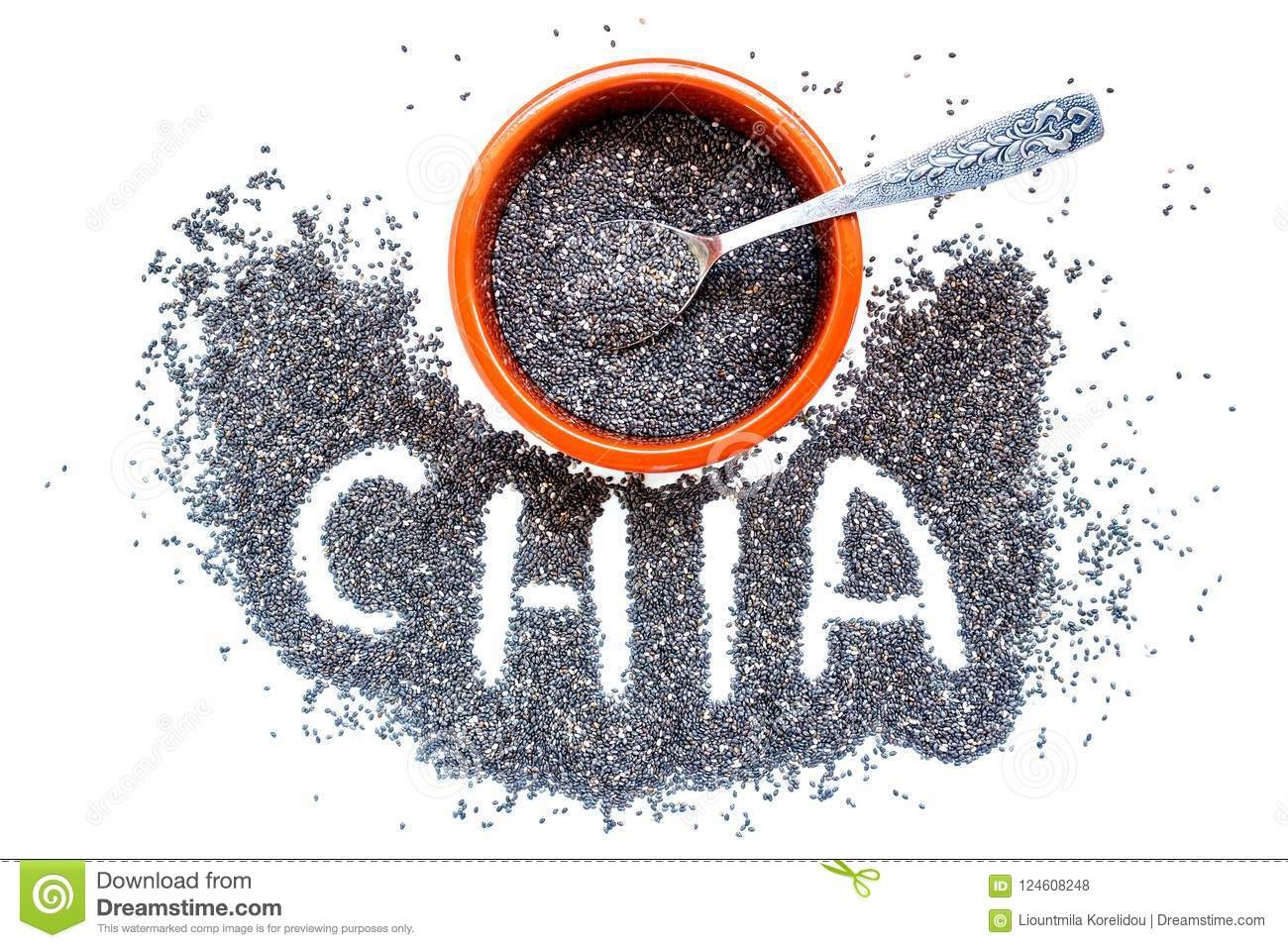 Chia seeds in a ceramic bowl and a small silver spoon.