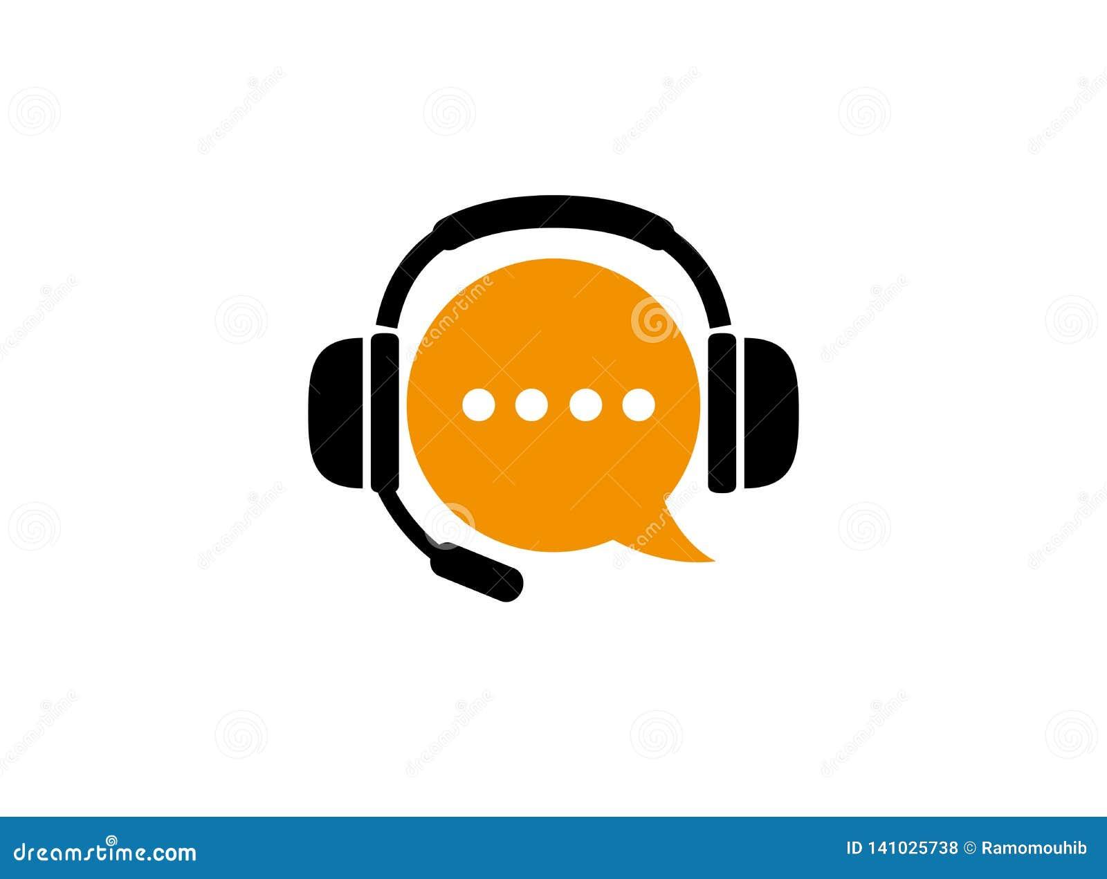 Chiacchieri il simbolo e la cuffia con il microfono per i servizi di assistenza al cliente aiuta per l illustrazione di progettaz
