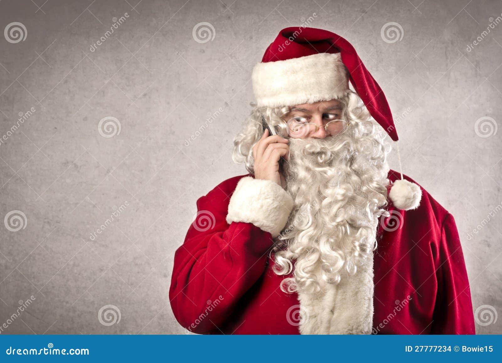 Videochiamata Babbo Natale.Chiamata Del Babbo Natale Fotografia Stock Immagine Di Cellula