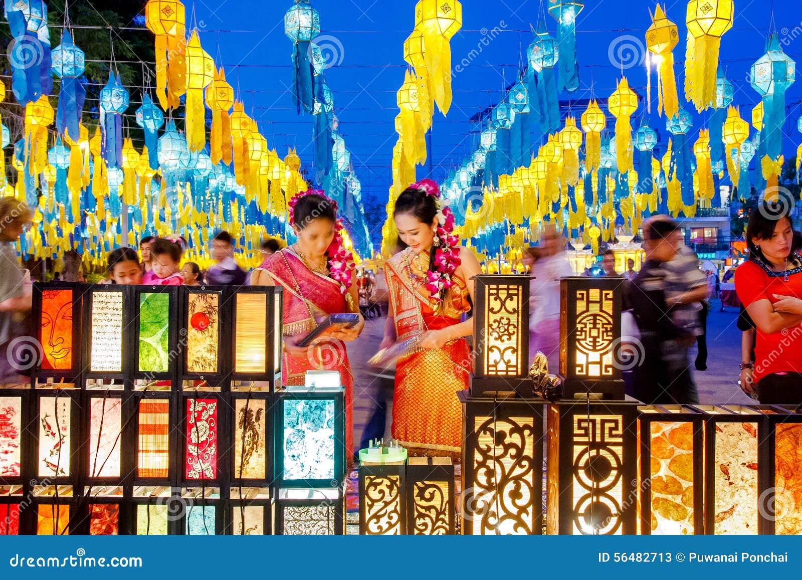 CHIANG MAI, THAÏLANDE - 12 NOVEMBRE 2008 : Deco coloré de lanternes