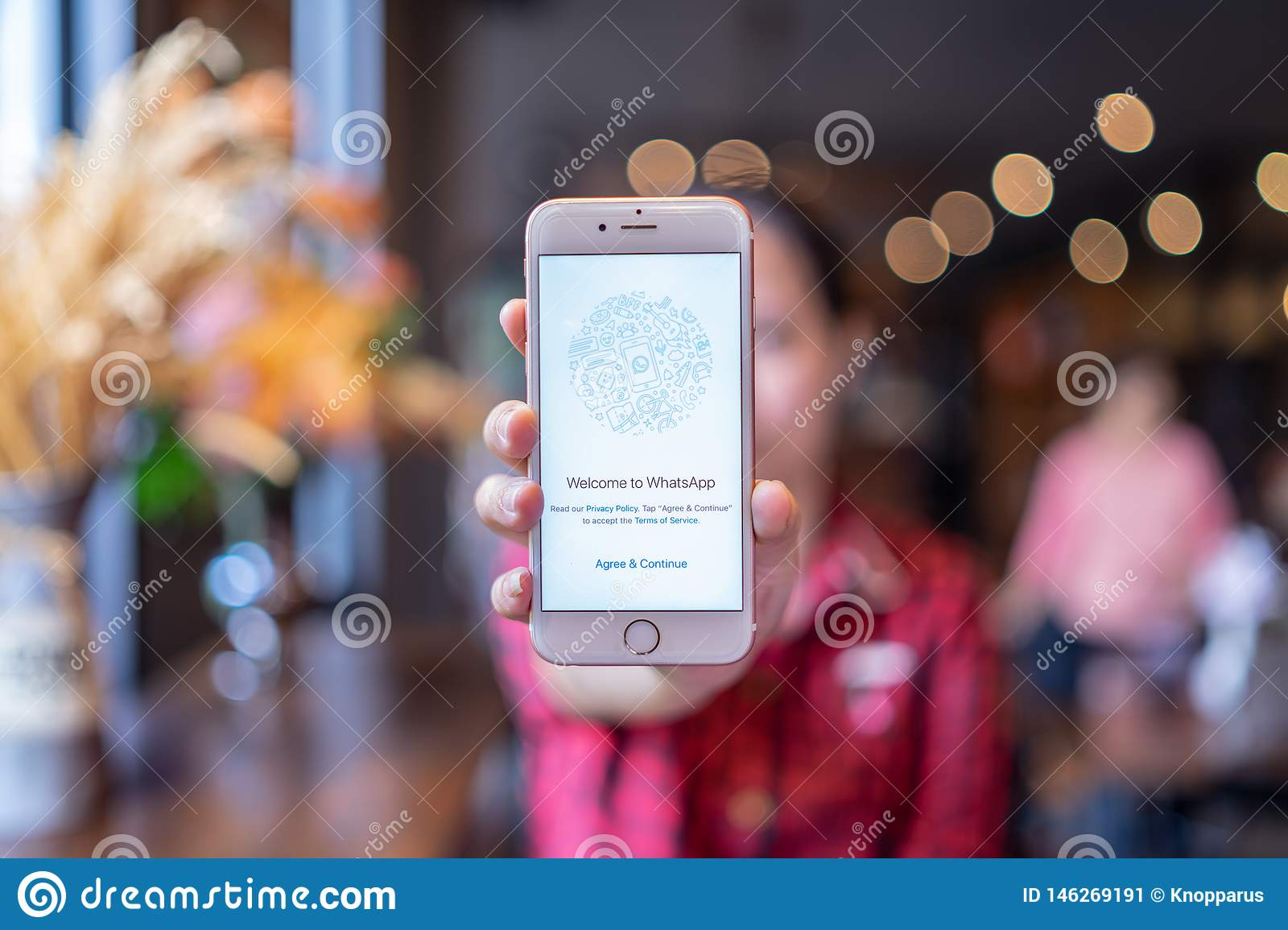 CHIANG MAI, THAILAND   Apr.20,20 Woman Holding Apple IPhone 20S ...