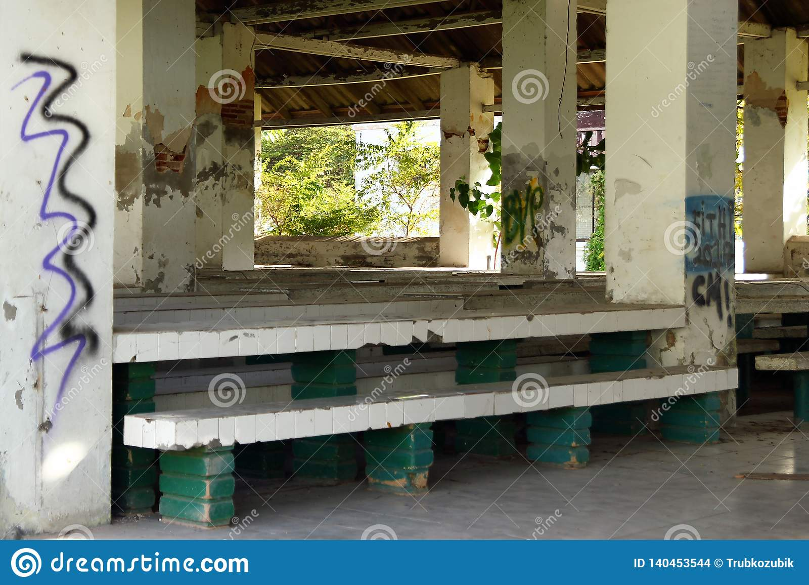 Miraculous Canteen With Stones Benches And Tables In Abandoned Women Ocoug Best Dining Table And Chair Ideas Images Ocougorg