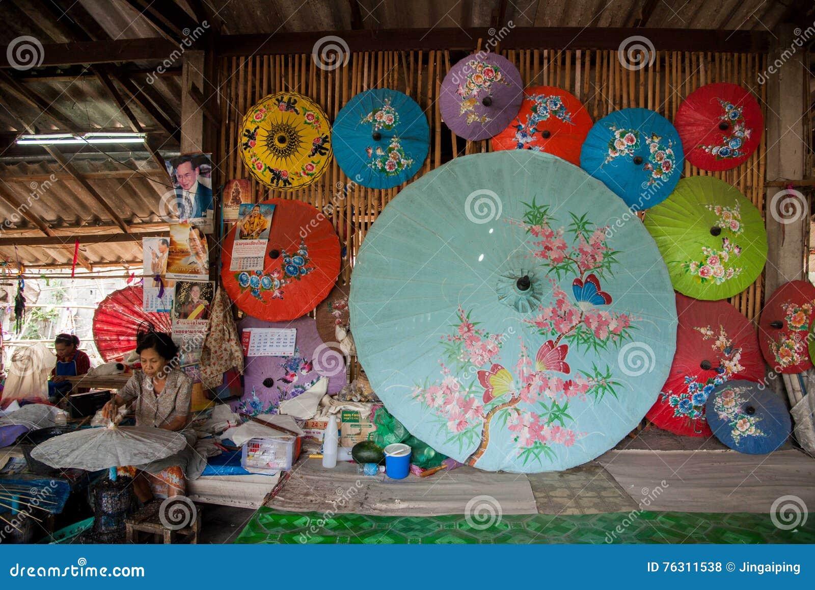 Chiang Mai Thailand Handmade Umbrella Making Process Editorial Stock Photo Image Of Paper Great 76311538