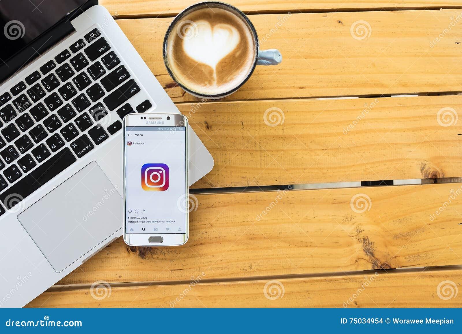 CHIANG MAI, THAILAND - 12. MAI 2016: Instagram-Anwendung Logo des Bildschirmfotos neue unter Verwendung des Randes Samsungs-Galax