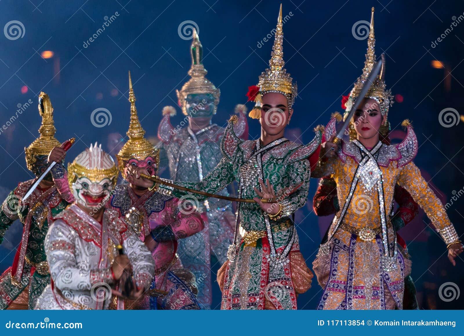 Khon Ramakien or Ramayana drama dancing