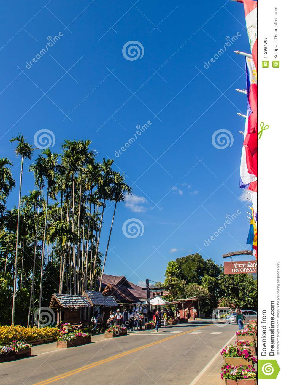 Tourists visited Doi Tung royal garden, former residence of the princess mother Srinagarindra, located on Doi Tung hills, Chinang