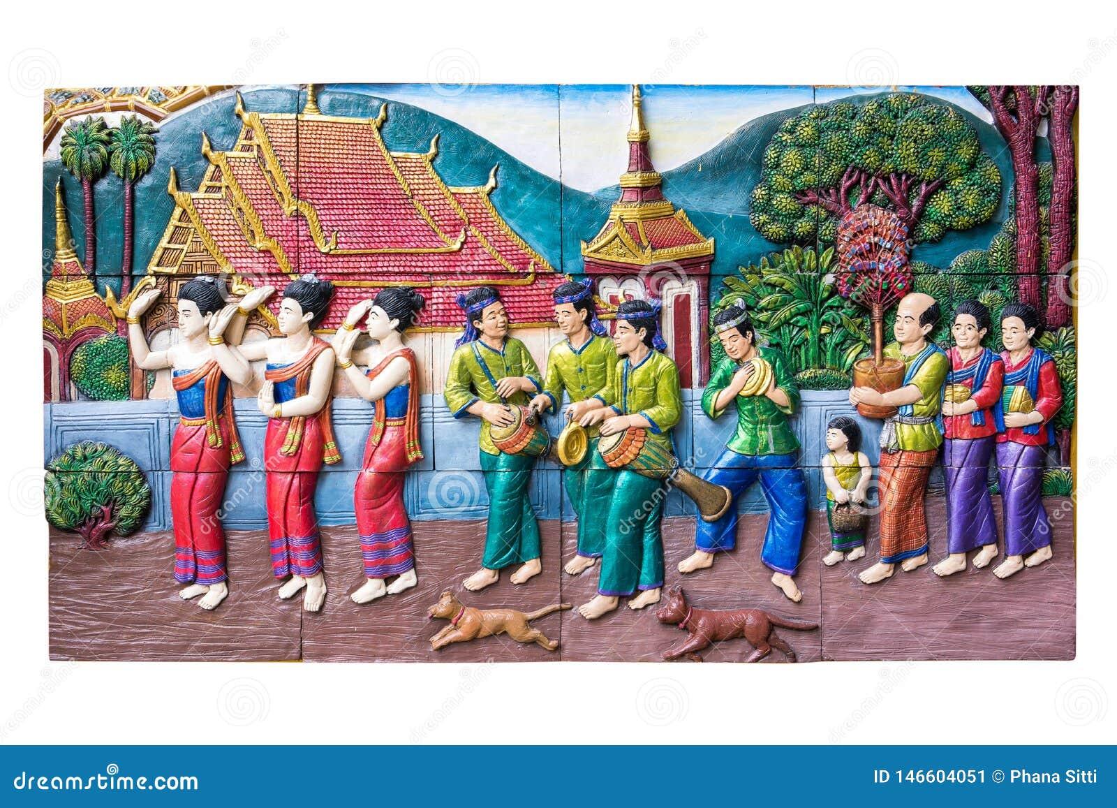 CHIANGMAI, ΤΑΪΛΑΝΔΗ - 9 ΣΕΠΤΕΜΒΡΊΟΥ 2016: Πέτρινη γλυπτική της παραδοσιακής ταϊλανδικής αγροτικής ζωής πολιτισμού στο παρελθόν στ