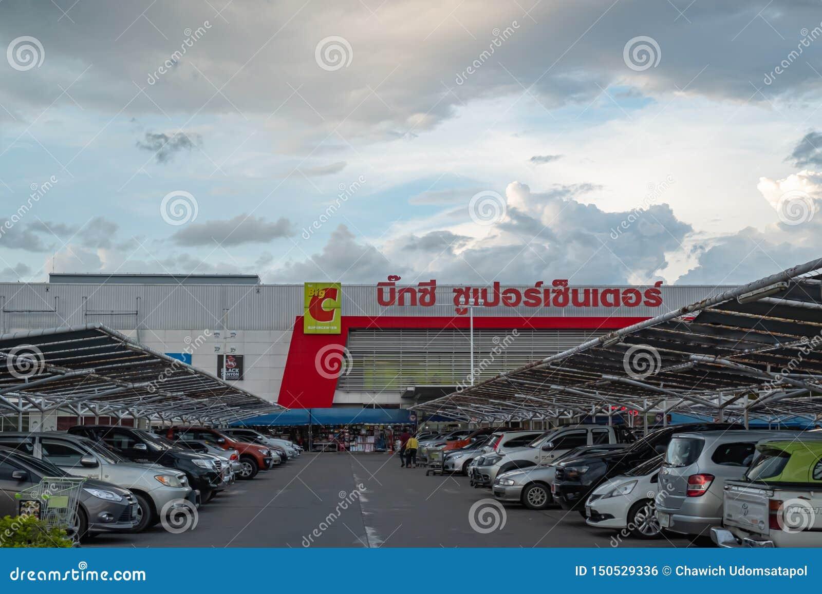 Chiangmai, estacionamiento de Tailandia junio 2,2019 del centro comercial grande del supercenter de C