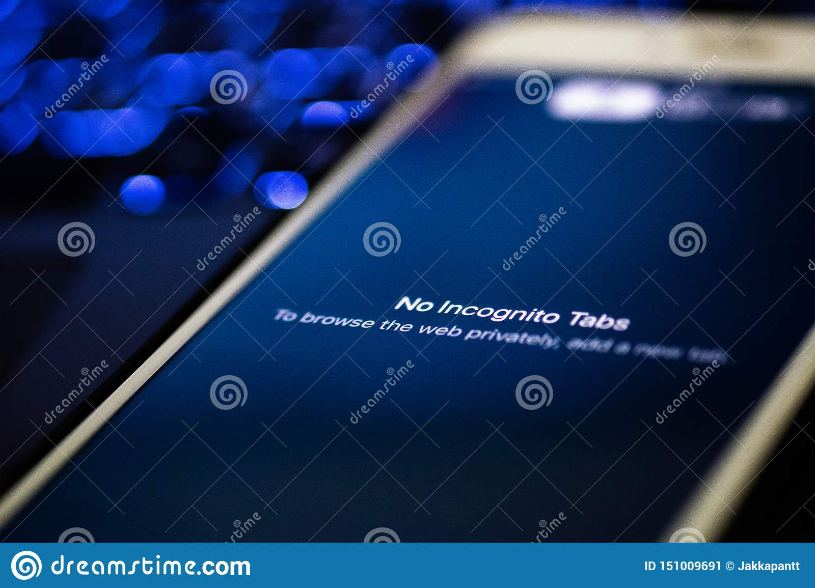Chiangmai / Thailand - 2019 June 20: Mobile phone with google chrome browser in incognito mode, Sercurity concept