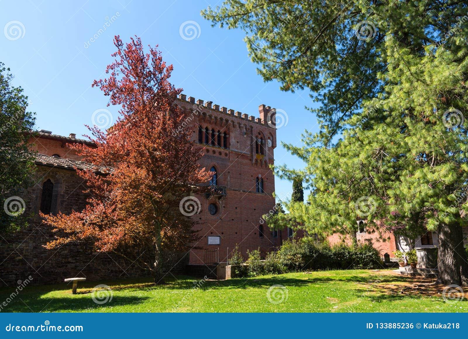 Chianti Region, Italy - April 21, 2018: Castello di Brolio, a rural castle, palace and gardens, near Siena, region of Tuscany,