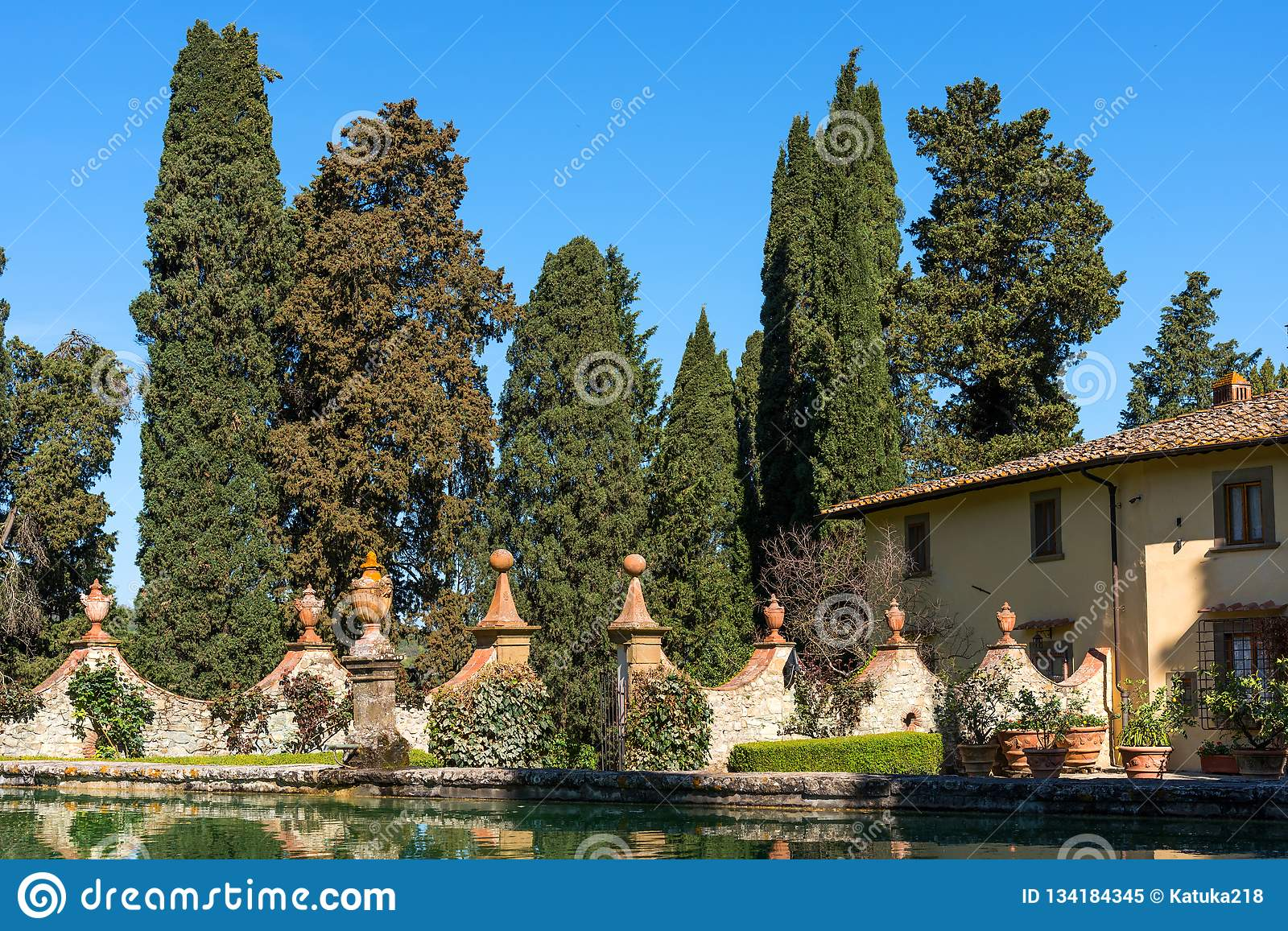 Chianti Region, Italy - April 20, 2018: The Castle of Verrazzano in Greve in Chianti, in the heart of the Chianti Classico area,