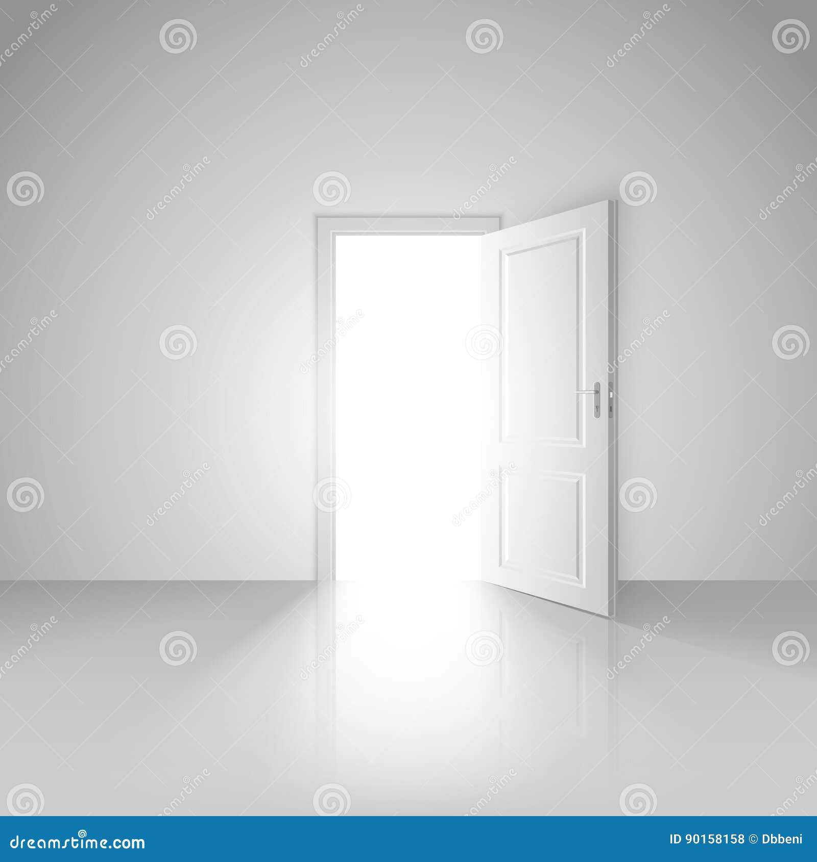 Chiara stanza bianca con la porta aperta al nuovo mondo
