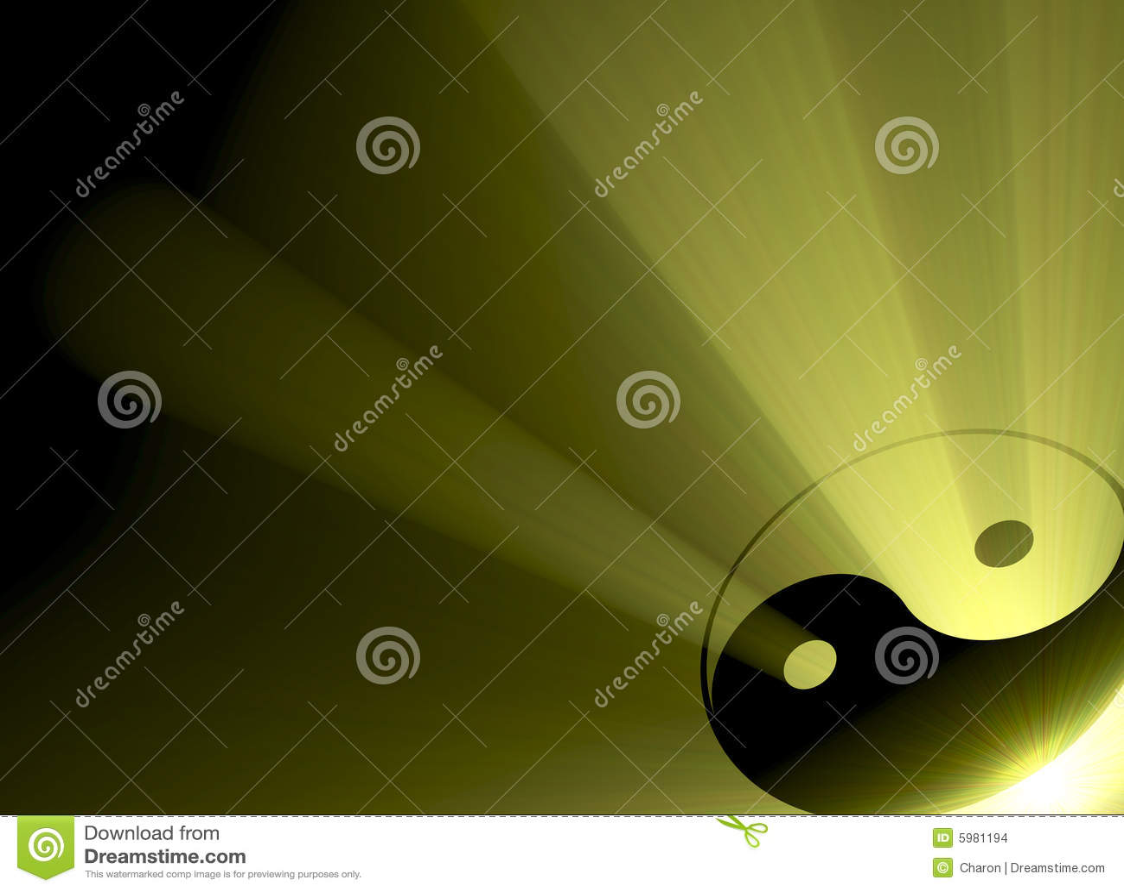 Chiarore del sole di simbolo di Yin Yang