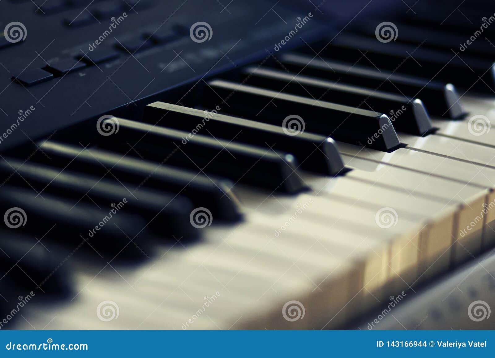 Chiavi in bianco e nero del strumento-sintetizzatore musicale moderno