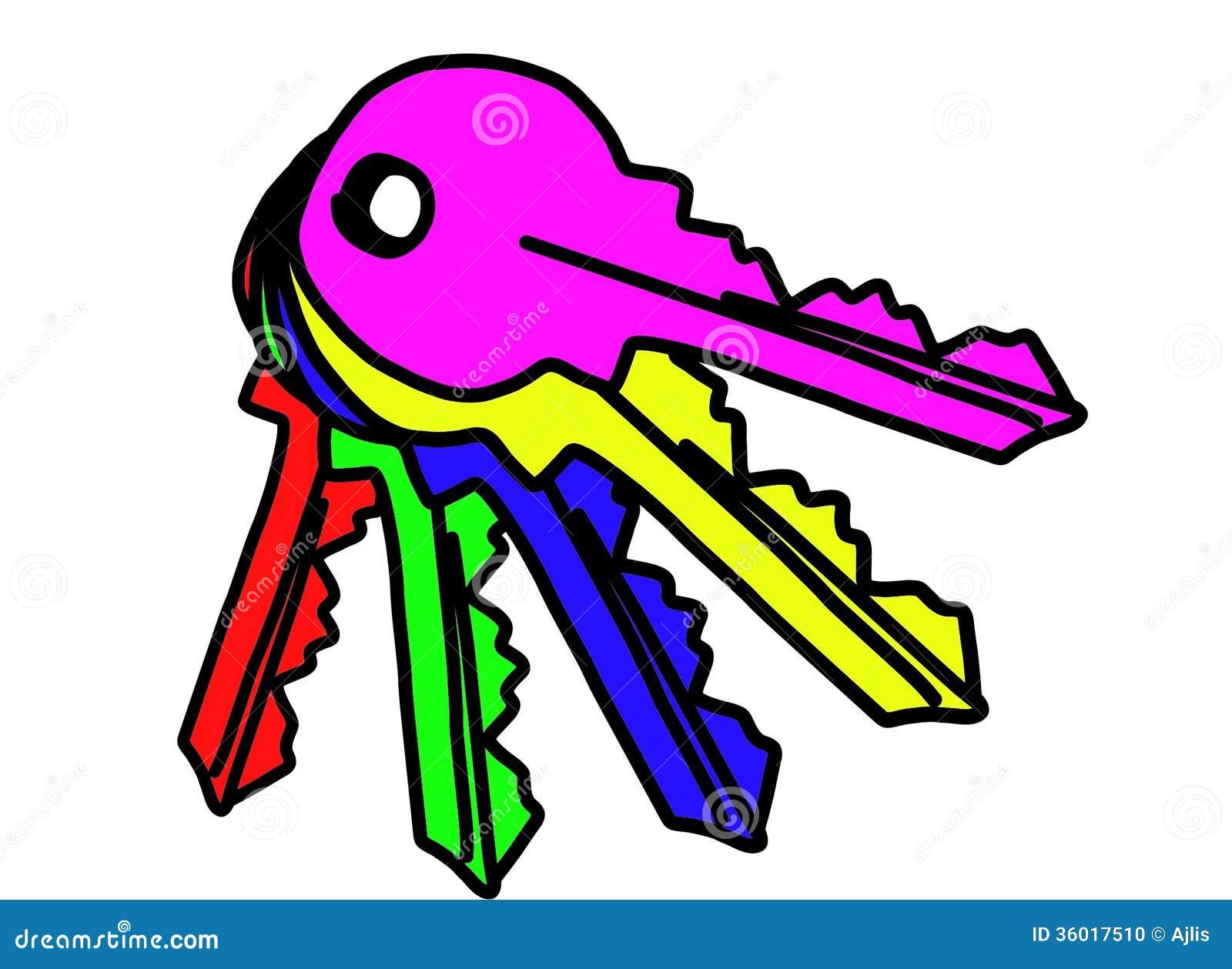 Chiavi Colorate Illustrazione Di Stock Illustrazione Di Pink 36017510