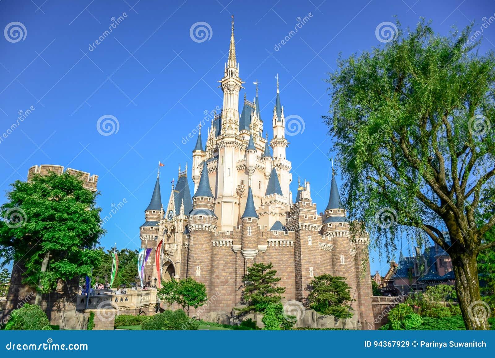Chiba Japan View Of Tokyo Disneyland Cinderella Castle Editorial