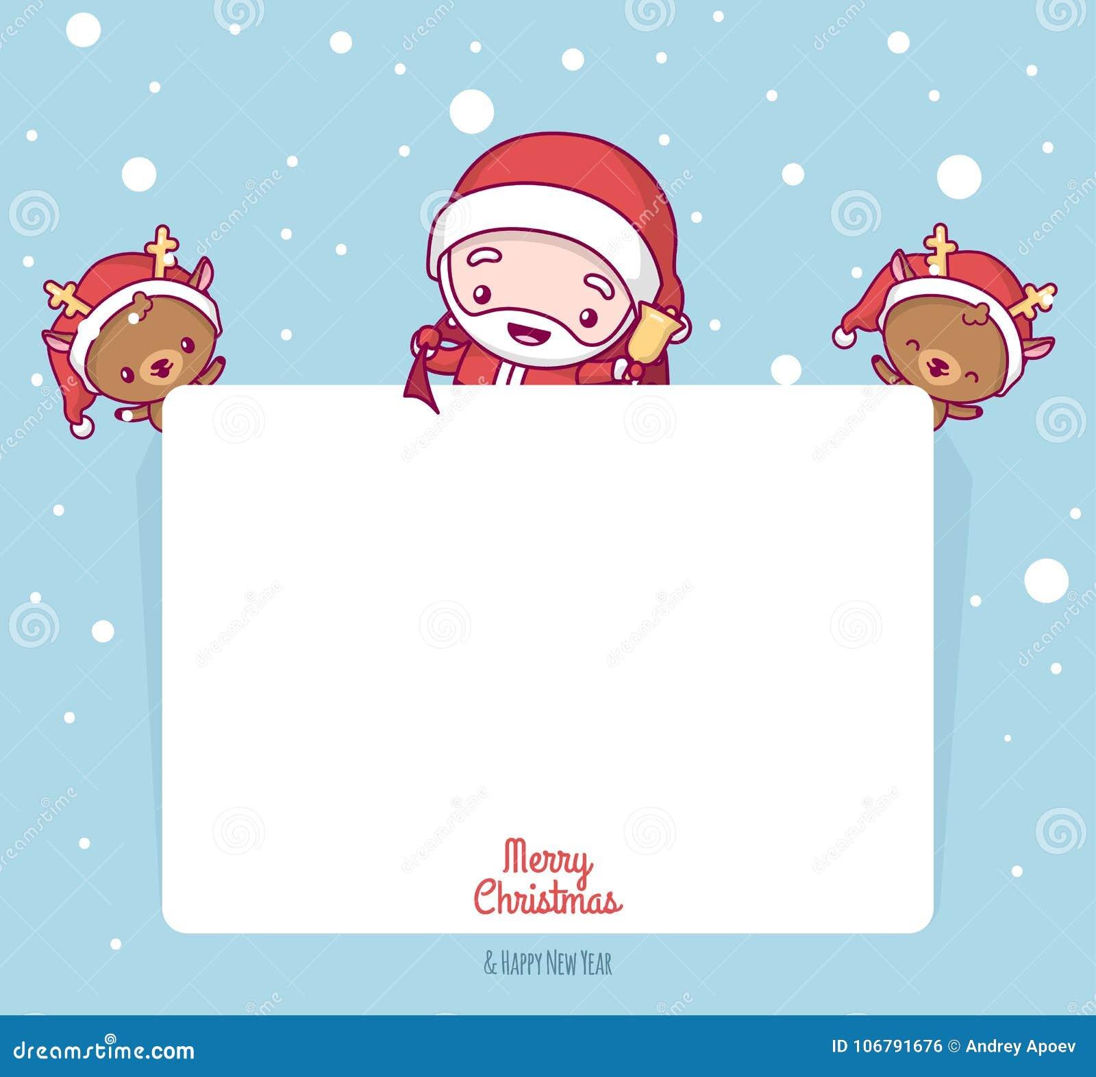 Posizione Babbo Natale.Chibi Sveglio Adorabile Di Kawaii Il Babbo Natale Con I Cervi Dietro