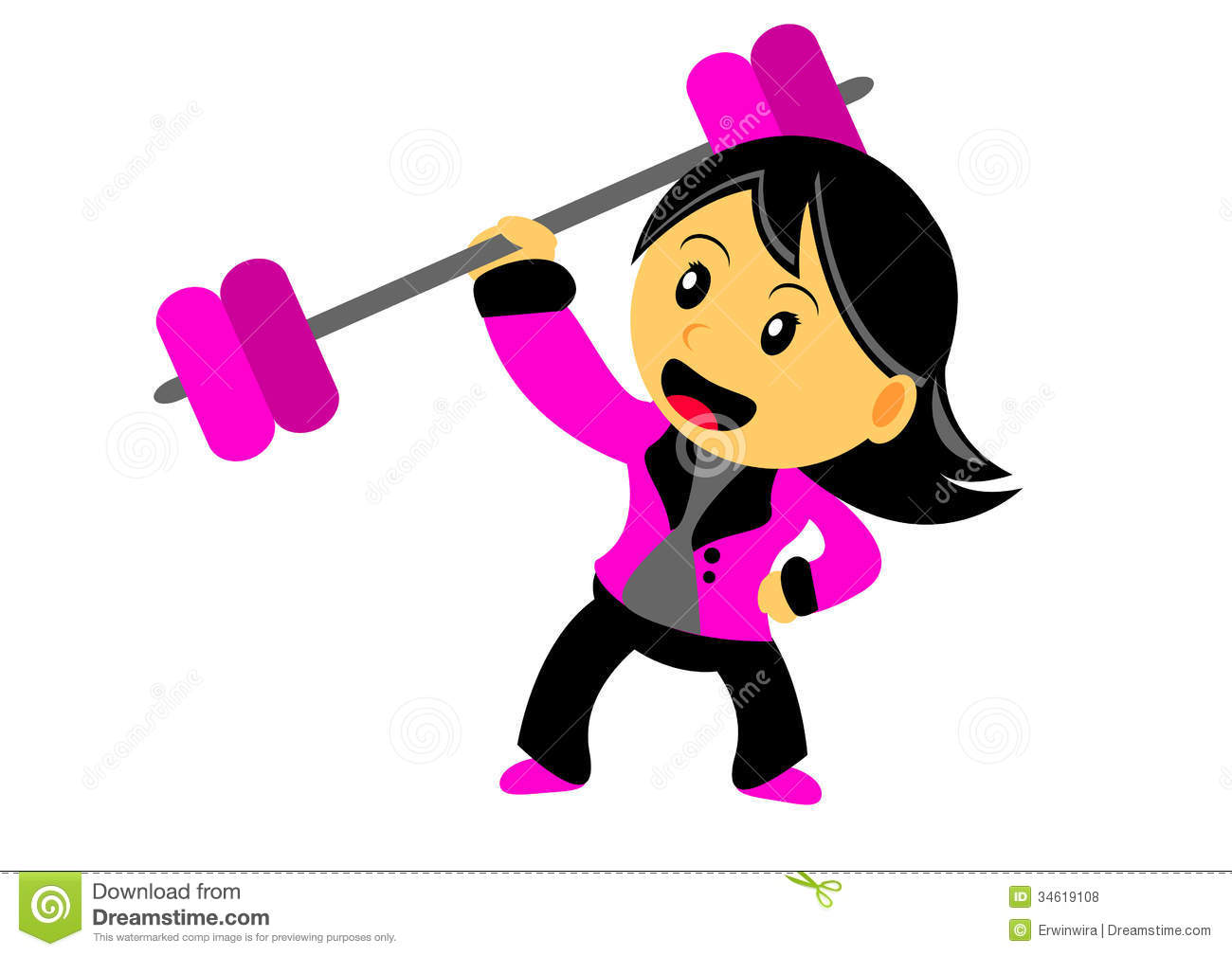 Illustration of Chibi Woman Cartoon Character in Activity Strong Woman Cartoon Characters