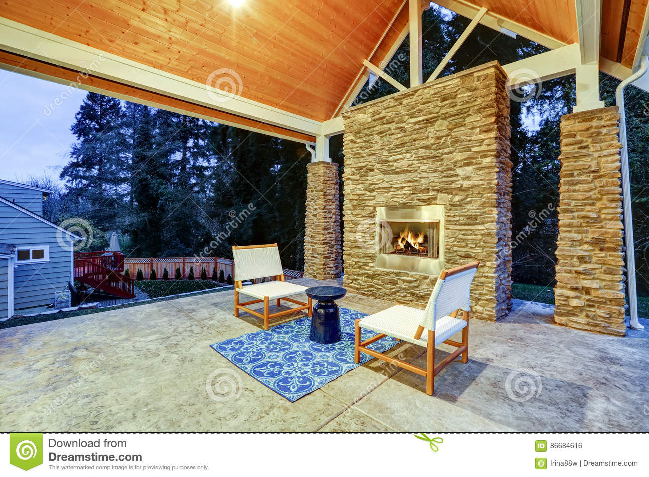 Chic Covered Back Patio With Built In Gas Fireplace Stock Photo Image Of Stainless Spring 86684616