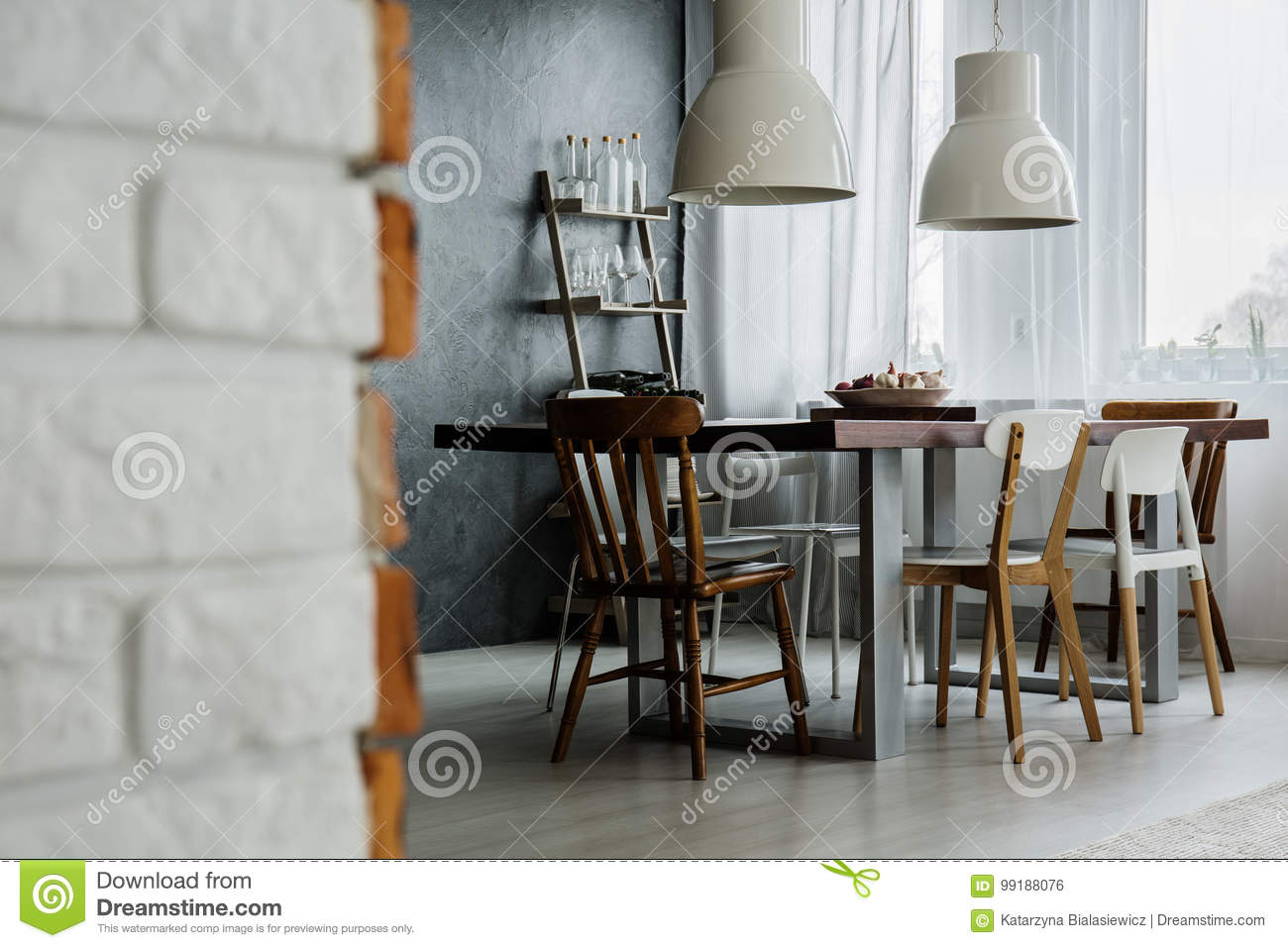 Chic Industrial Dining Room Design Stock Photo Image Of Room