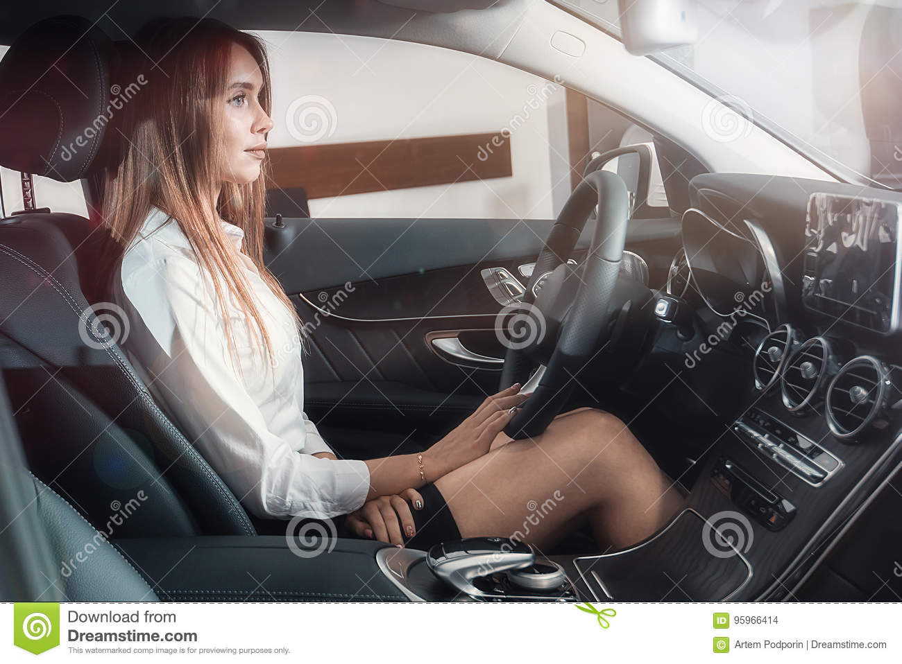 Chic Girl Driving Stock Photo Image Of Auto Person 95966414