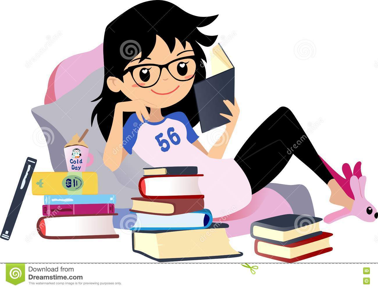 chic girl reading a book cute vector clip art woman black hair with rh dreamstime com girl reading book clipart girl reading clipart black and white