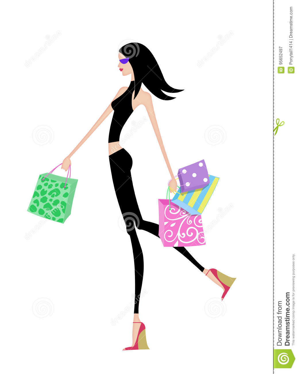 841c607273e8 Chic Girl Walking With Shopping Bags Stock Illustration ...