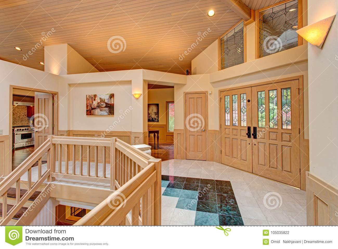 Chic Grand Entrance Foyer Design With Double Sided Staircase Stock Photo Image Of Indoors Floor 105035822