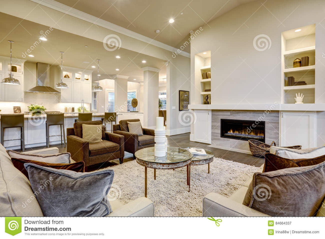 Chic Living Room Design In Natural Colors And Open Plan ...