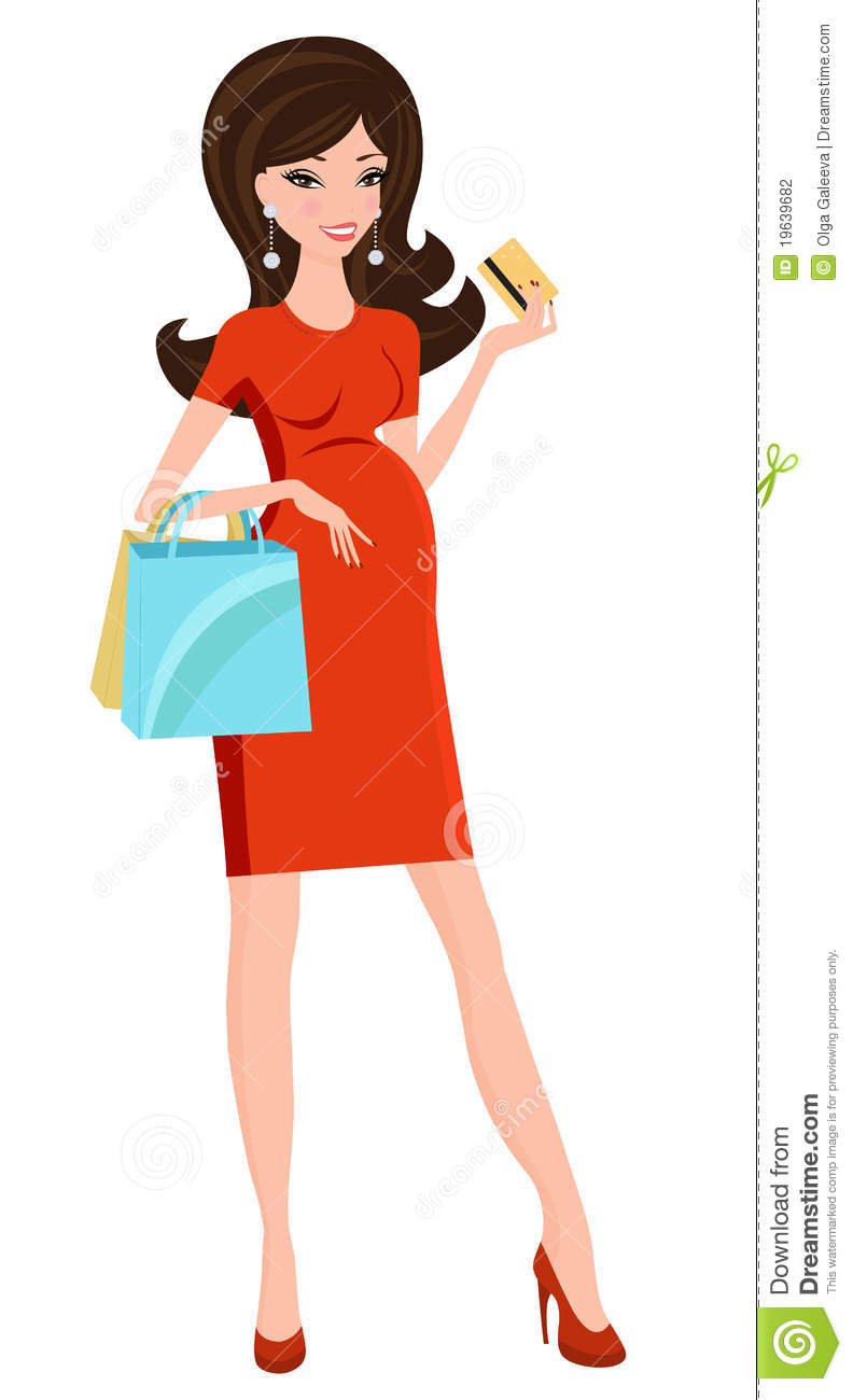 chic pregnant woman shopping stock photography   image
