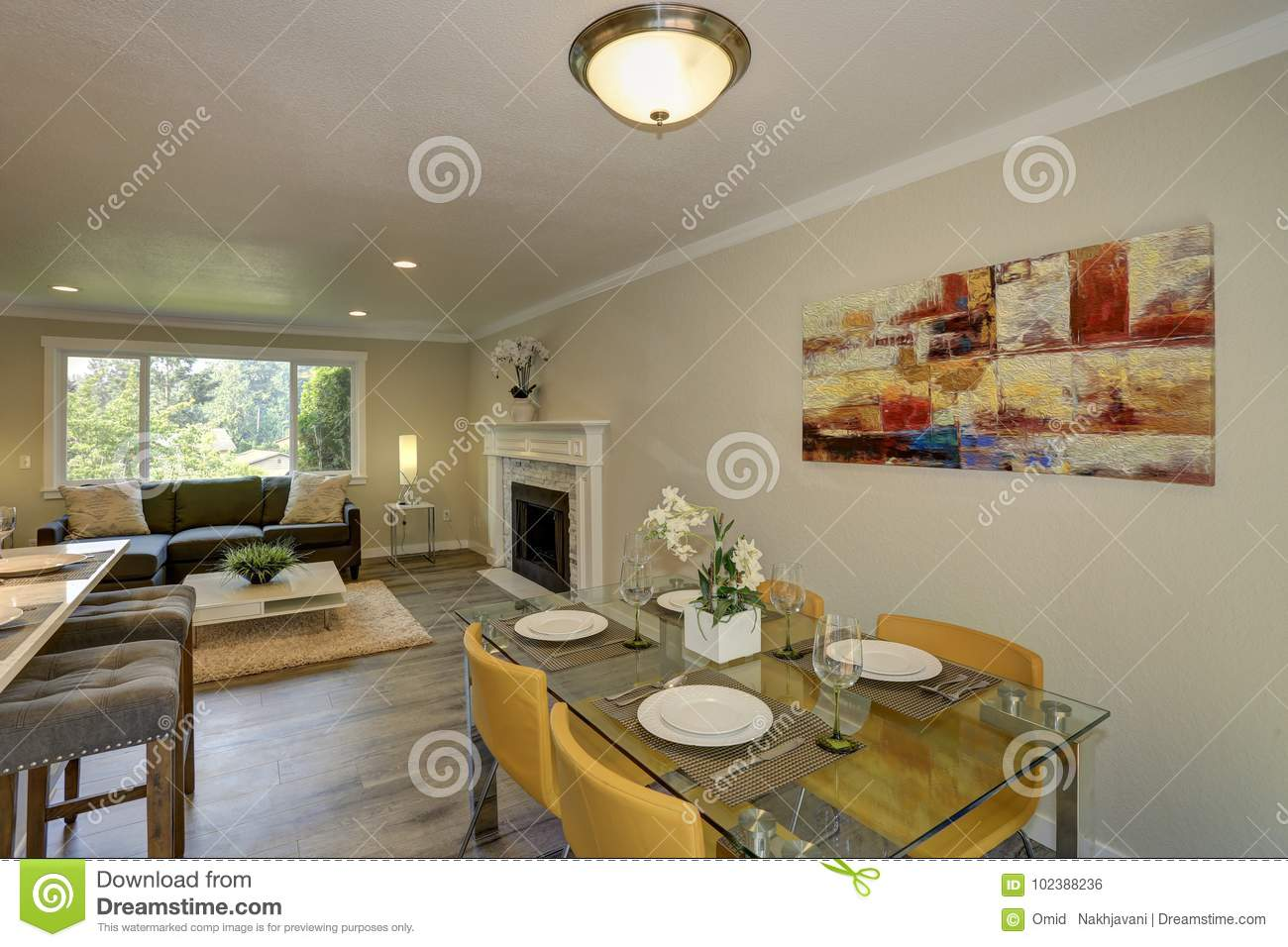 Beautiful Open Plan Second Floor Kitchen With Dining Space Stock