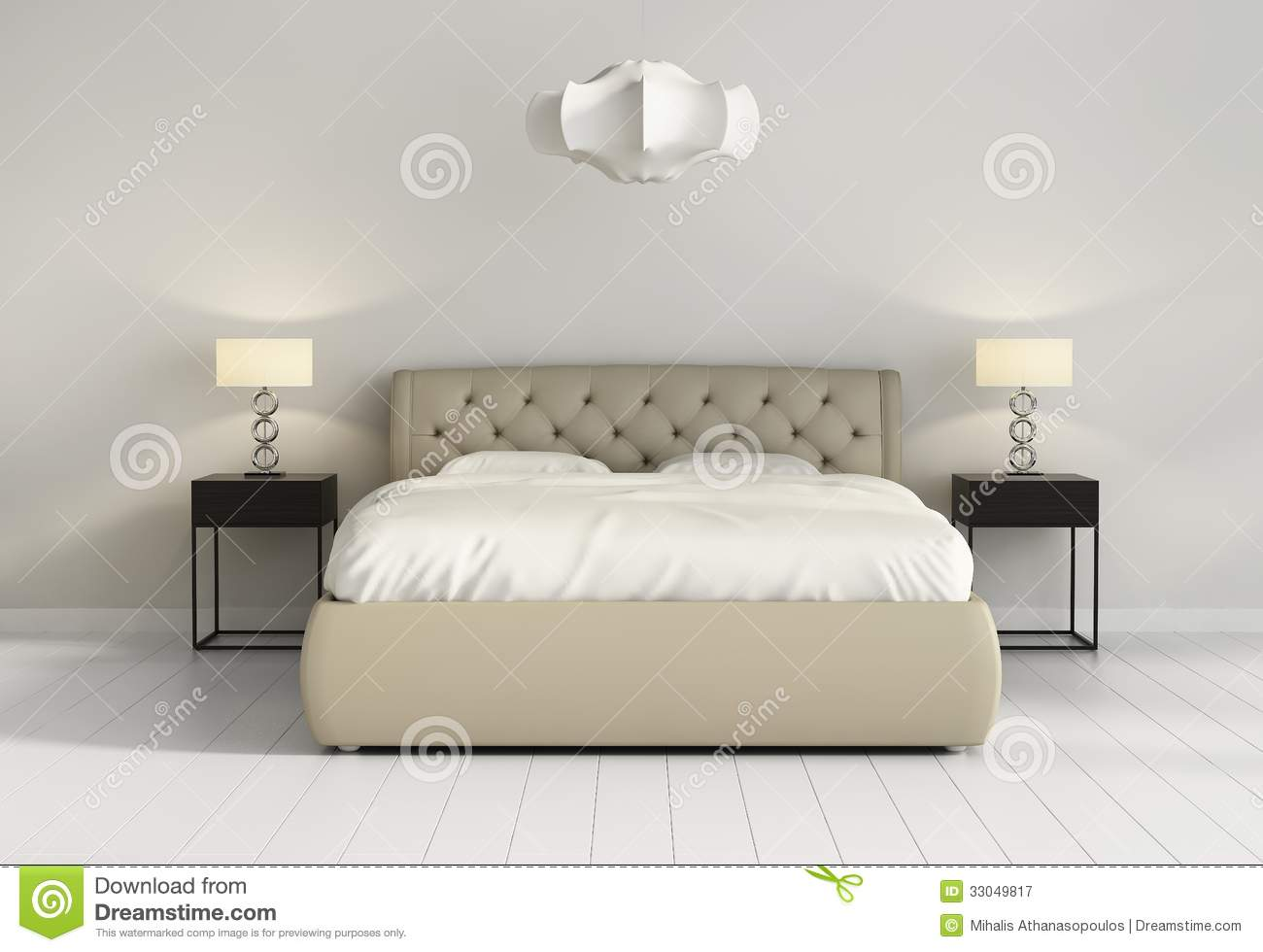 Chic Tufted Leather Bed In Contemporary Chic Bedroom Front Royalty ...