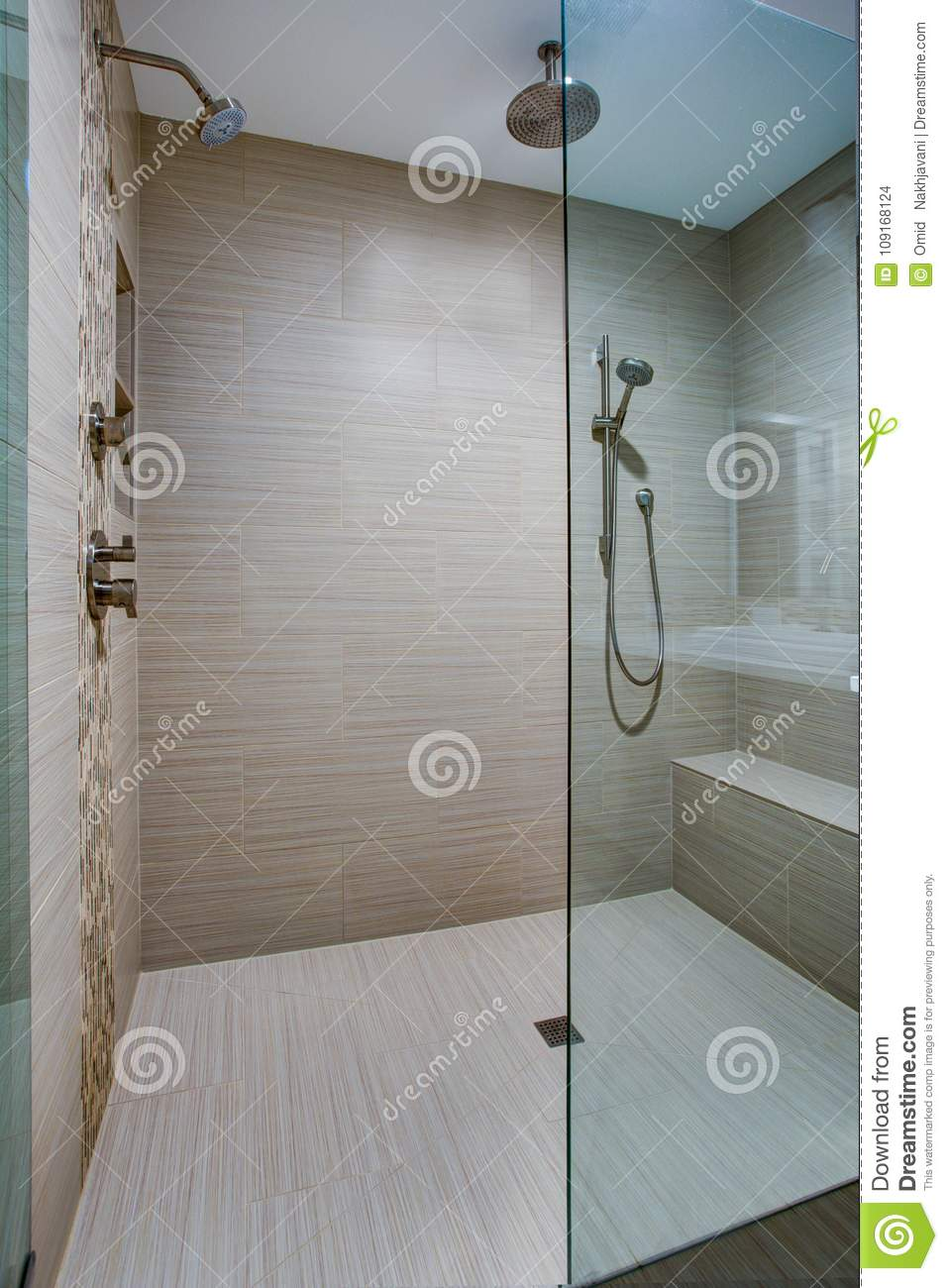 Chic Walk In Shower With Built In Bench Stock Photo Image Of