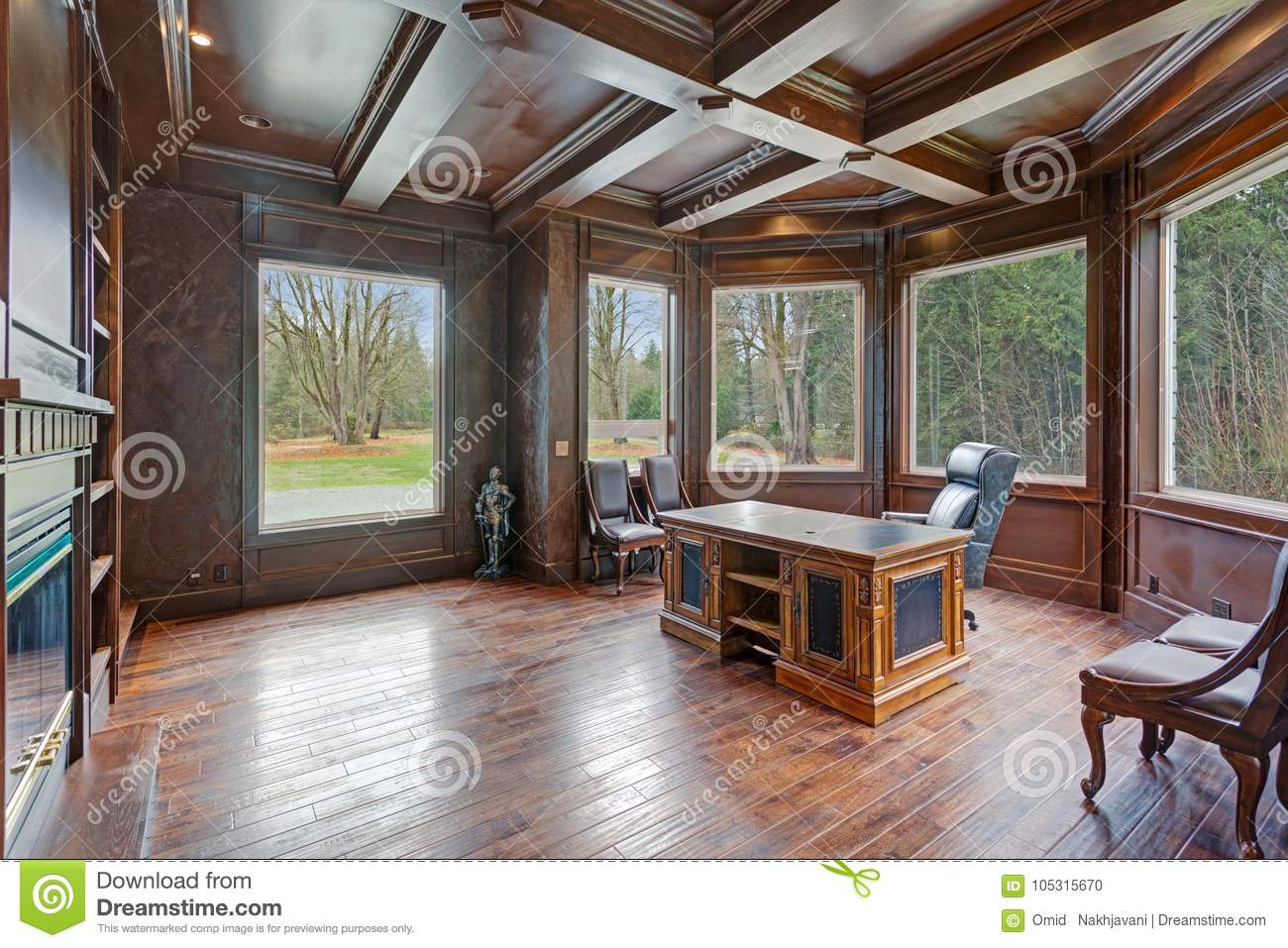 Download Chic Wood Paneled Home Office Features Coffered Ceiling Stock  Photo - Image of design, - Chic Wood Paneled Home Office Features Coffered Ceiling Stock Photo