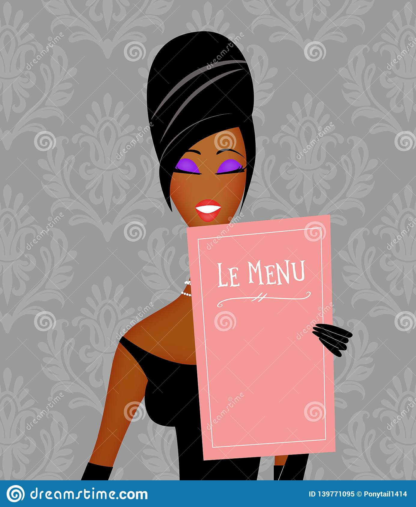 Chic Young Black Woman Reading a Restaurant Menu With Damask Wallpaper